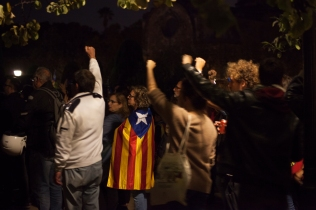 Protesters infront of the Catalan Parliament Building