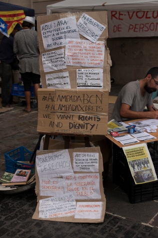 In front of the Townhouse in Barcelona there was a protest camp for a few days